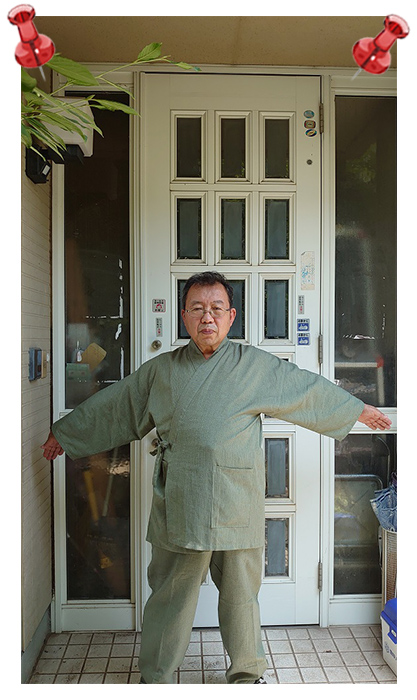 綿麻しじら作務衣・No.226 グリーン・L/身長:163cm 体重:74Kg/父の日セットで子供にプレゼントされました。冬用を誕生日にプレゼントされ気に入ってました。今回の父の日は今の季節にぴったりで、早速着て、仕事をしています。軽くて動きやすいです。別カラーも欲しくなりました。長生きしてまた買ってもらおうと思います。!
