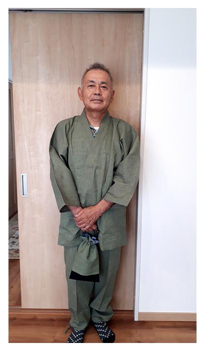 綿麻シジラ作務衣 グリーン・L/父の日プレゼントで愛用します。