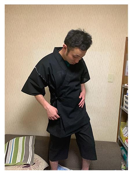 綿しじら甚平  No.4 黒・LL/身長:183cm・体重:85Kg/とても軽くて肌触りが良く、作務衣とどちらか悩みましたが、これからなら甚平かなと思って、購入して良かったです。
