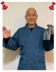 綿麻楊柳作務衣  No.73 ブルー・M/身長:163cm・体重:55Kg/軽くて涼しく気軽に着れて、心地よい。