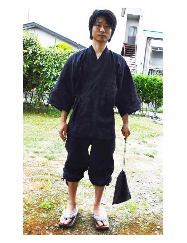 近江ちぢみ本麻楊柳作務衣 黒 (M)  【IKISUGATA】