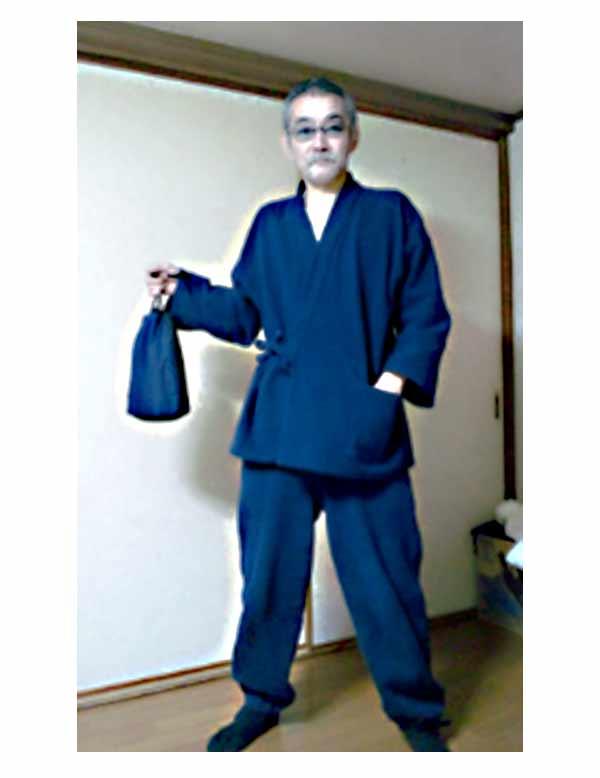 刺子作務衣 濃紺着用お客様写真