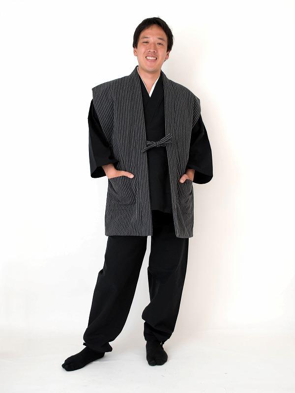 刺子織袖無し綿入れ袢天-陣羽織 黒(ブラック)