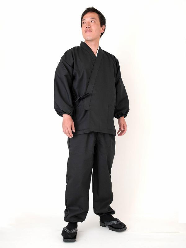 綿ポリ綾織作務衣 黒(ブラック)