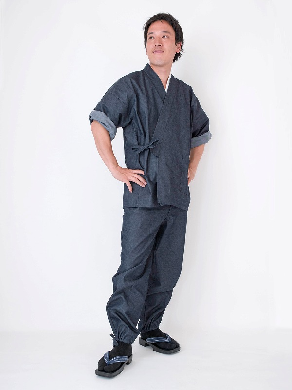 日本製デニムロールアップ作務衣