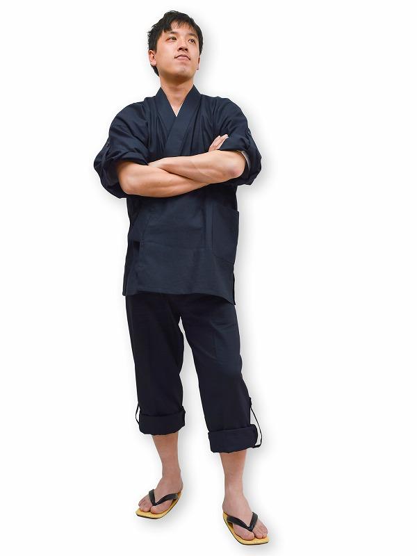 高機能麻綿ロールアップ作務衣 No. 2 濃紺