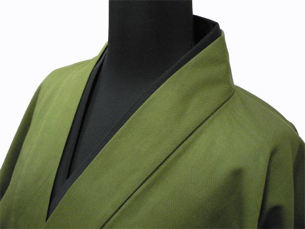 作務衣用Tシャツ半襦袢 NO.3 黒 グリーン作務衣×黒衿半襦袢