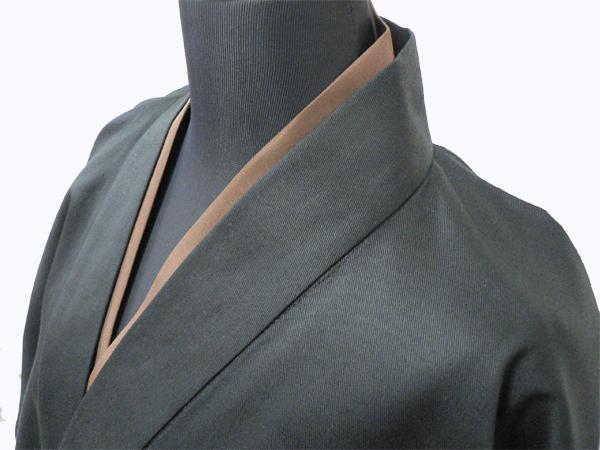 作務衣用Tシャツ半襦袢 NO.4 茶 黒作務衣×茶衿半襦袢