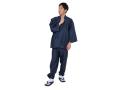シルクライク紬裏地付作務衣 日本製  全身着用写真