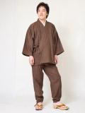 絣紬作務衣3番色  濃茶