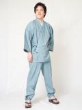 絣紬作務衣8番色ブルー