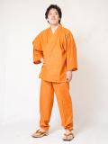 絣紬作務衣16番色  オレンジ