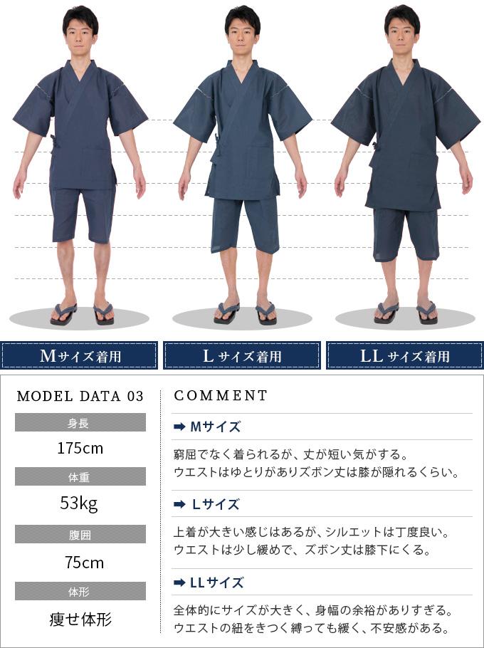 甚平のサイズ比較