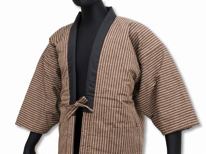 【綿入れはんてん】 木綿綿入れ袢纏 男性用 日本製 茶